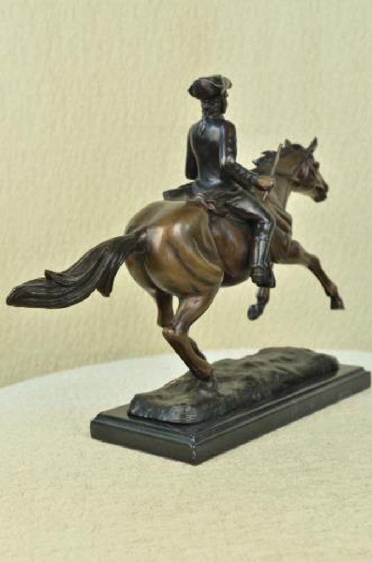 Soldier on Horse Bronze Statue on Marble Base Sculpture - 7