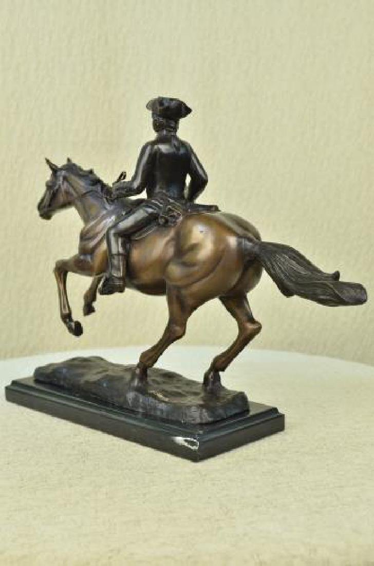 Soldier on Horse Bronze Statue on Marble Base Sculpture - 8