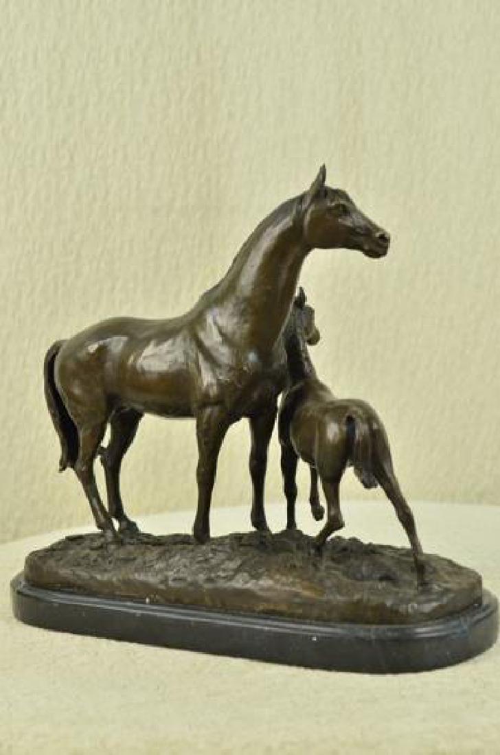 Bronze Horse Sculpture on Marble Base Statue - 3