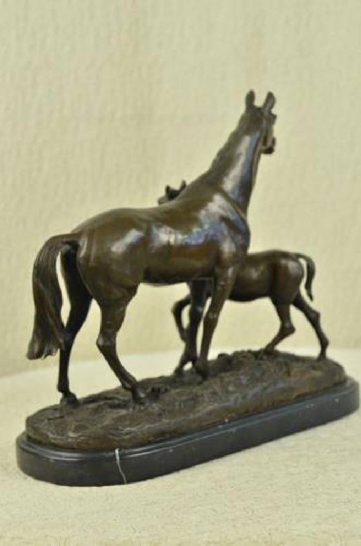 Bronze Horse Sculpture on Marble Base Statue - 4