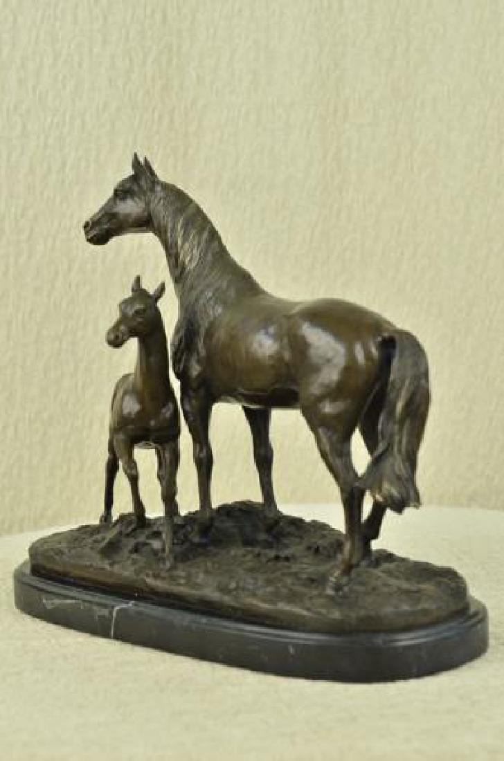 Bronze Horse Sculpture on Marble Base Statue - 5