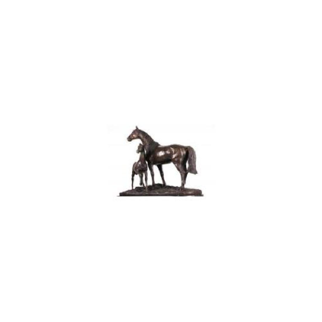 Bronze Horse Sculpture on Marble Base Statue - 6