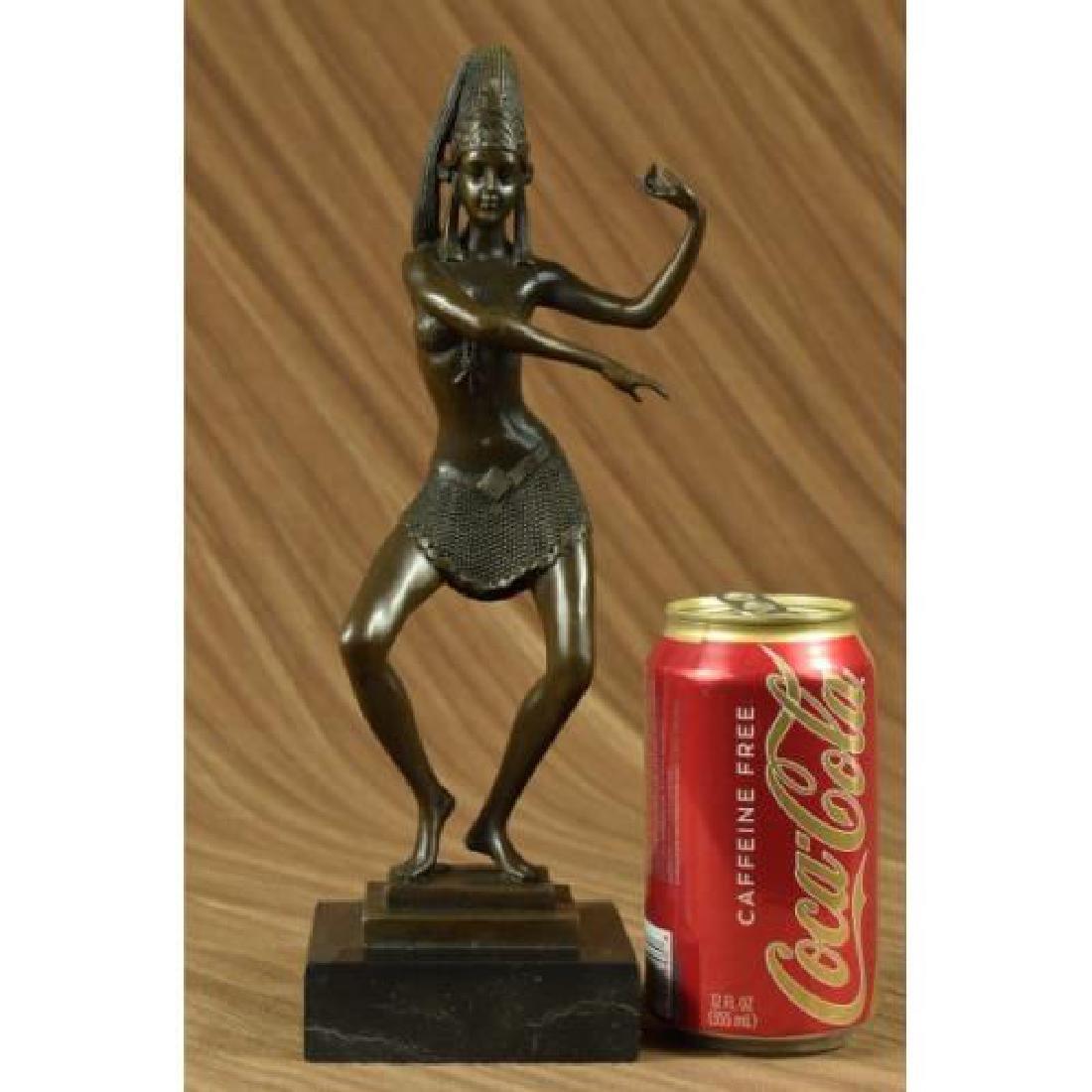 Egyptian Dancer Bronze Sculpture on Marble Base Statue - 2