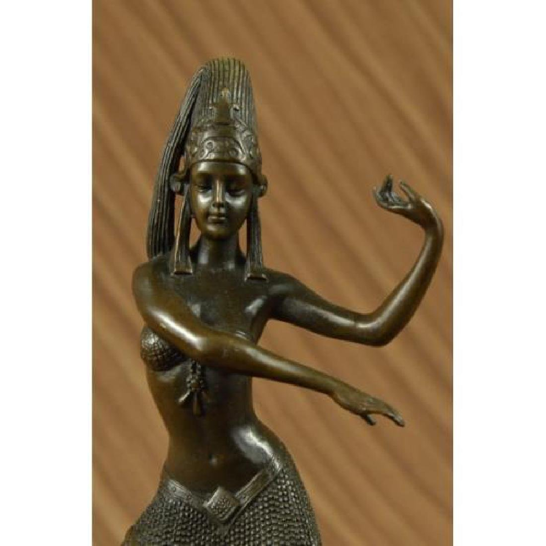 Egyptian Dancer Bronze Sculpture on Marble Base Statue - 5