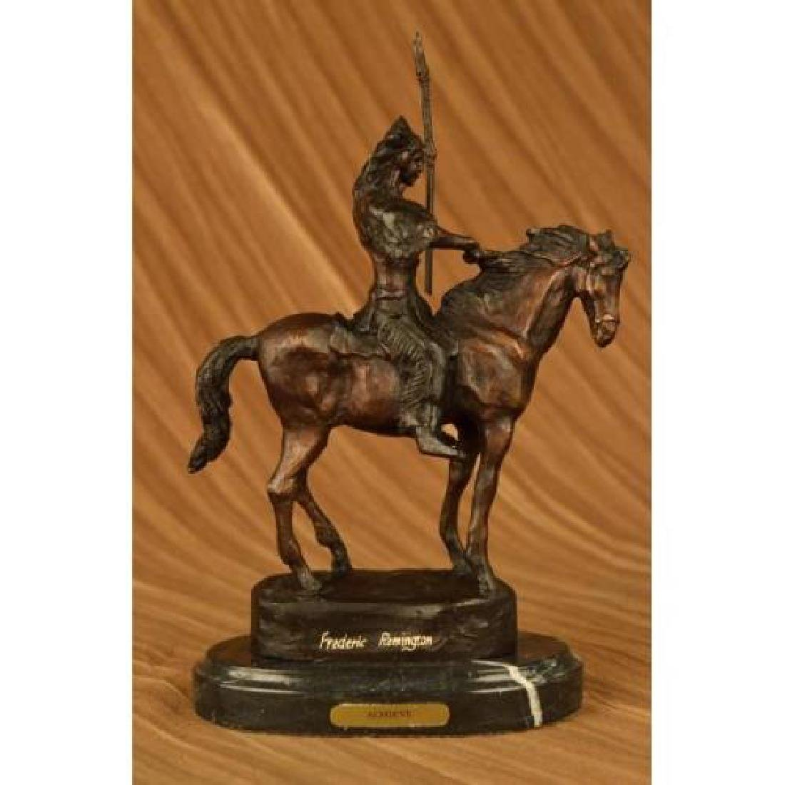 Native American on Horse with Spear Bronze Sculpture
