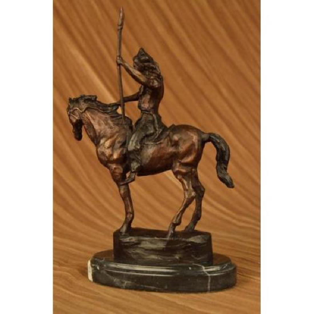 Native American on Horse with Spear Bronze Sculpture - 3