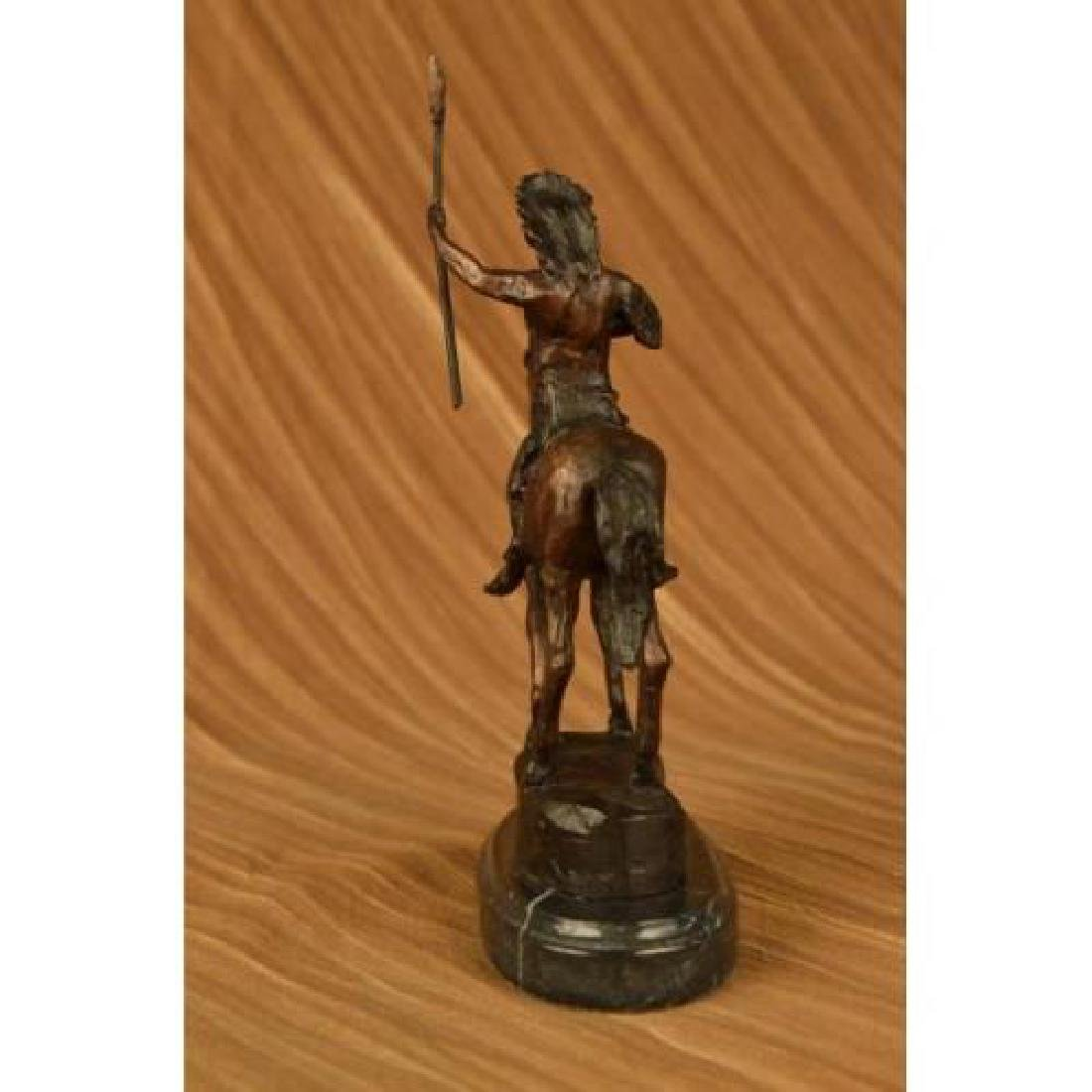 Native American on Horse with Spear Bronze Sculpture - 4