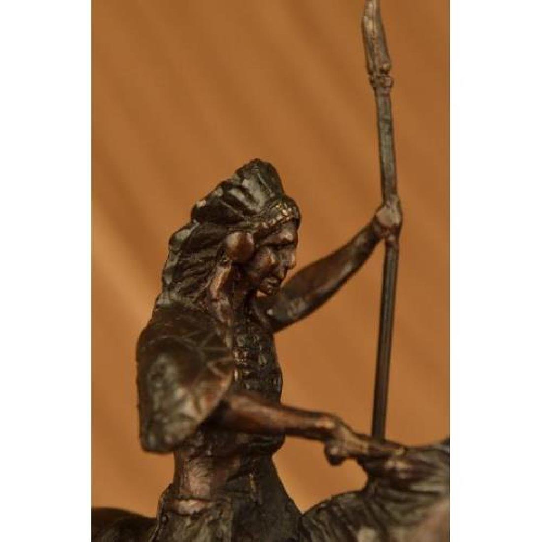 Native American on Horse with Spear Bronze Sculpture - 5