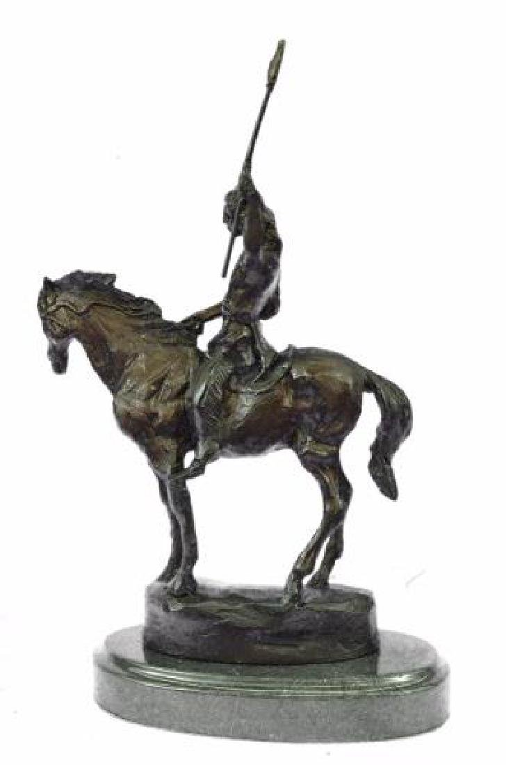Native American on Horse with Spear Bronze Sculpture - 7