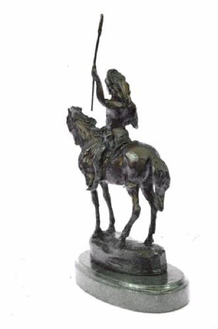 Native American on Horse with Spear Bronze Sculpture - 8