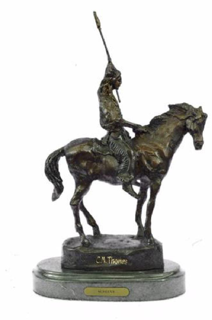Native American on Horse with Spear Bronze Sculpture - 9