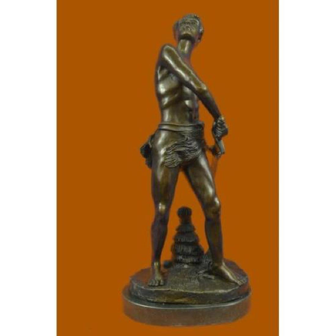 Warrior with Sword Bronze Sculpture on Marble Base