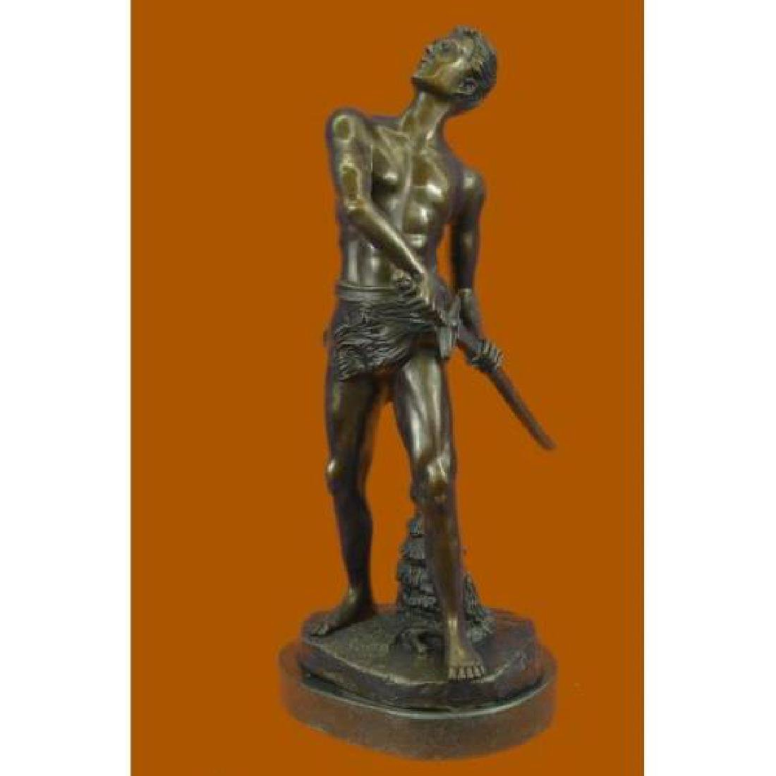 Warrior with Sword Bronze Sculpture on Marble Base - 2