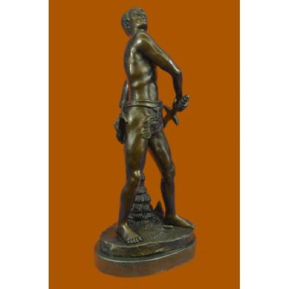 Warrior with Sword Bronze Sculpture on Marble Base - 4