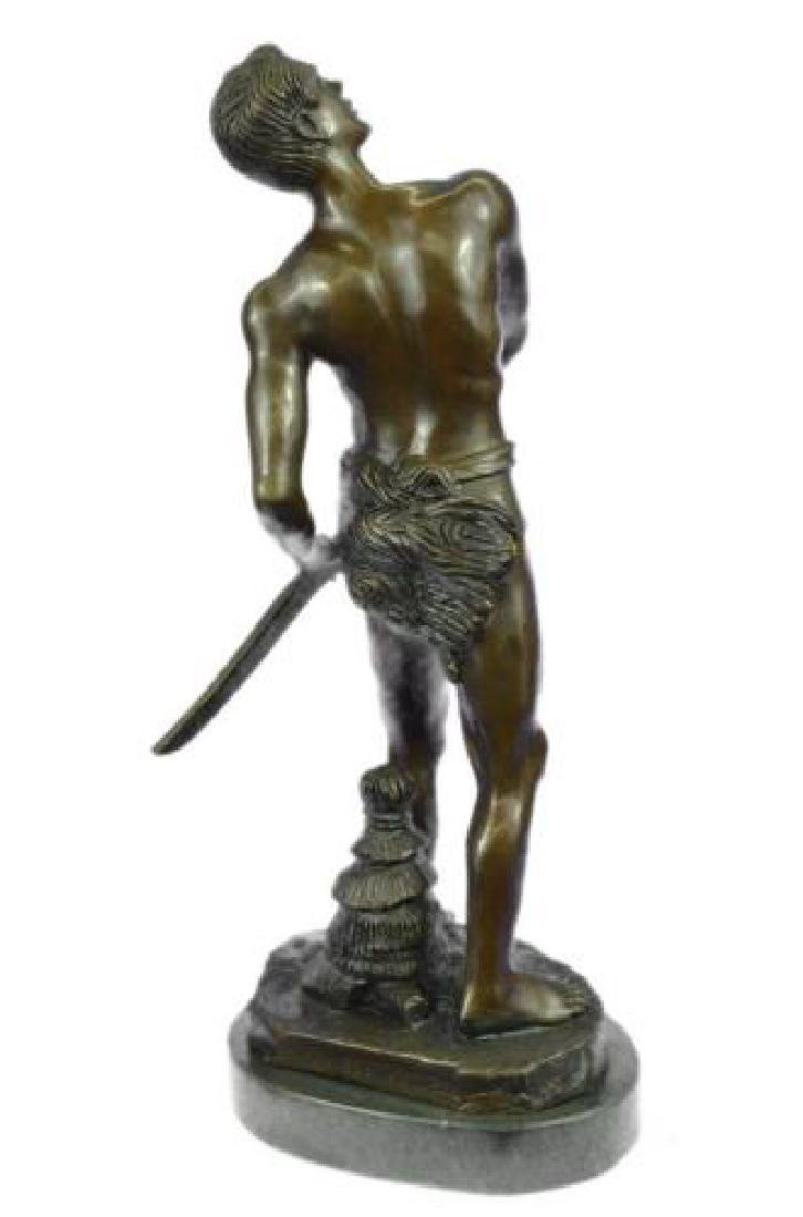 Warrior with Sword Bronze Sculpture on Marble Base - 8