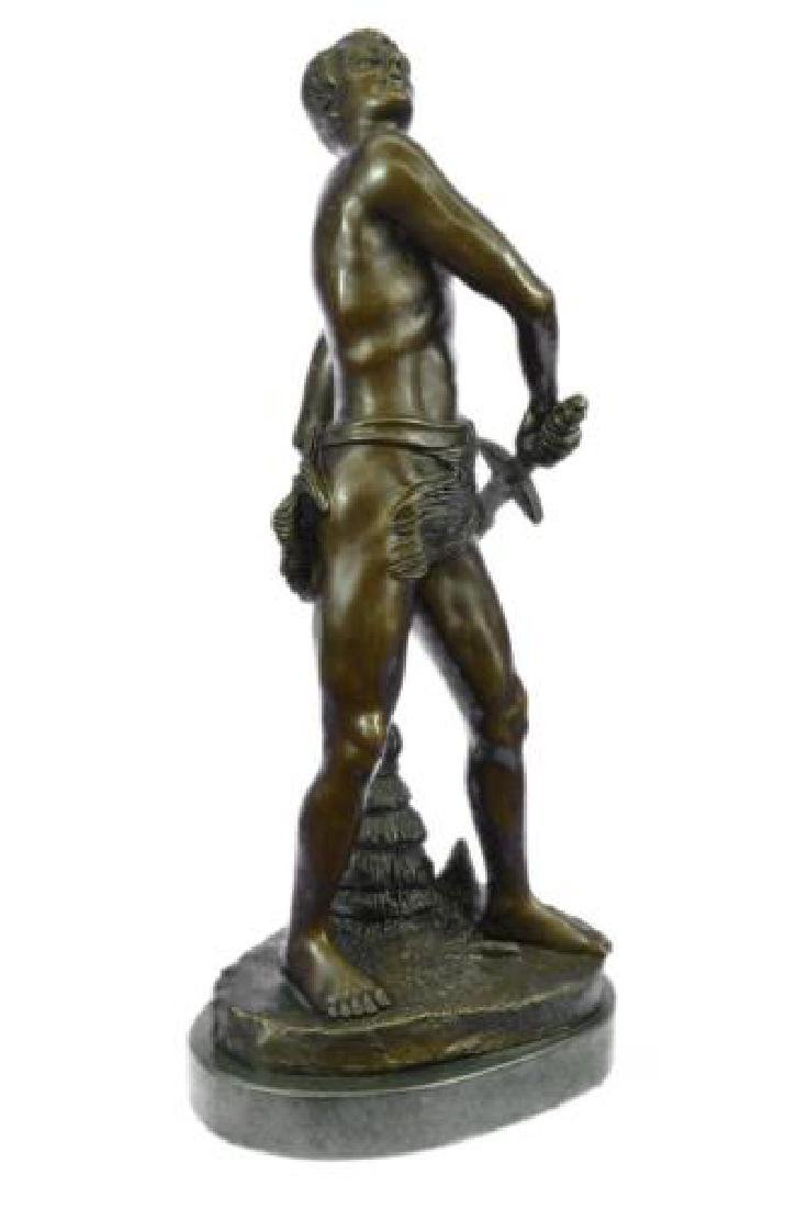 Warrior with Sword Bronze Sculpture on Marble Base - 9