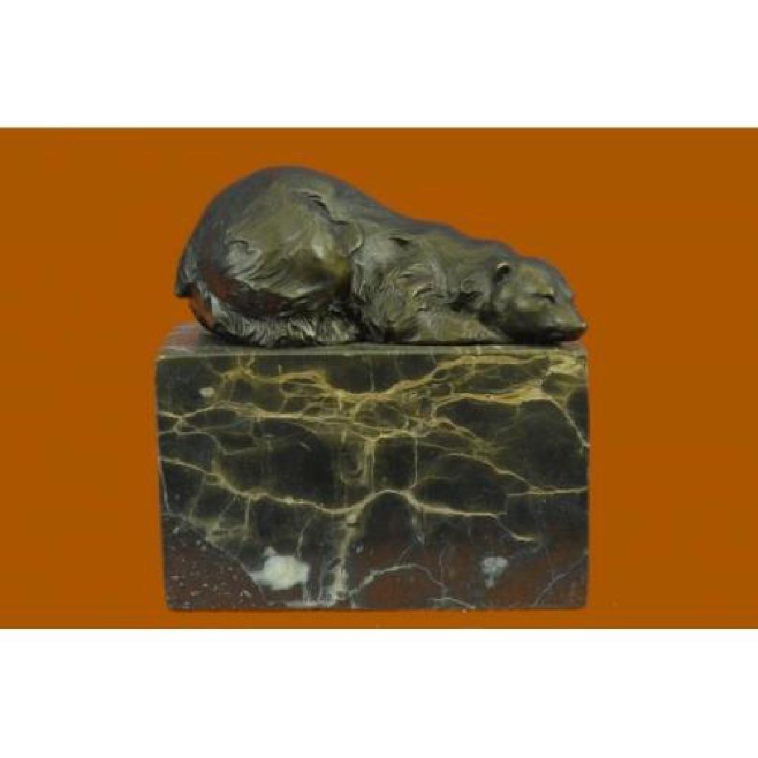 Polar Bear Bronze Sculpture on Marble Base Sculpture