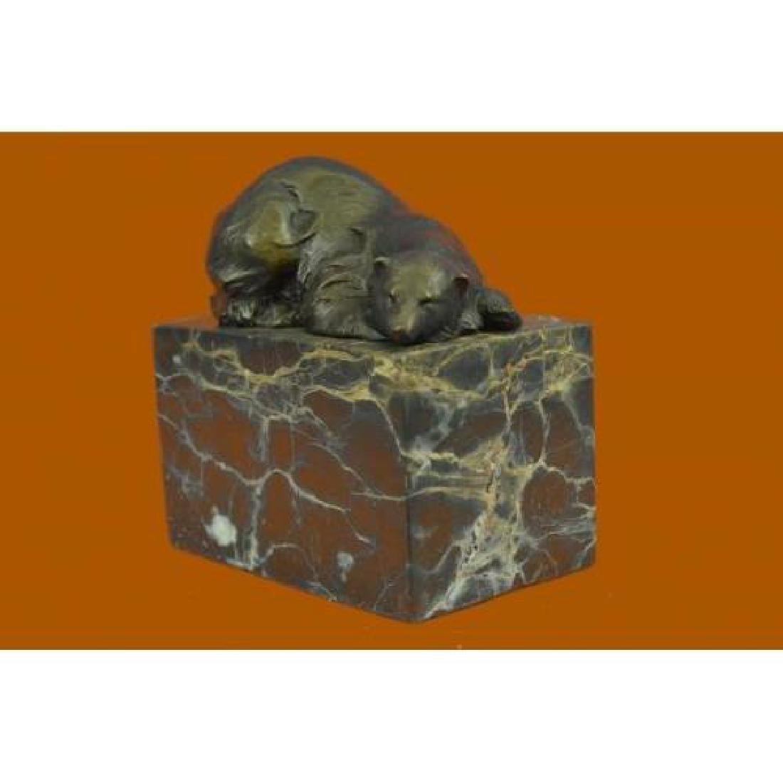 Polar Bear Bronze Sculpture on Marble Base Sculpture - 2