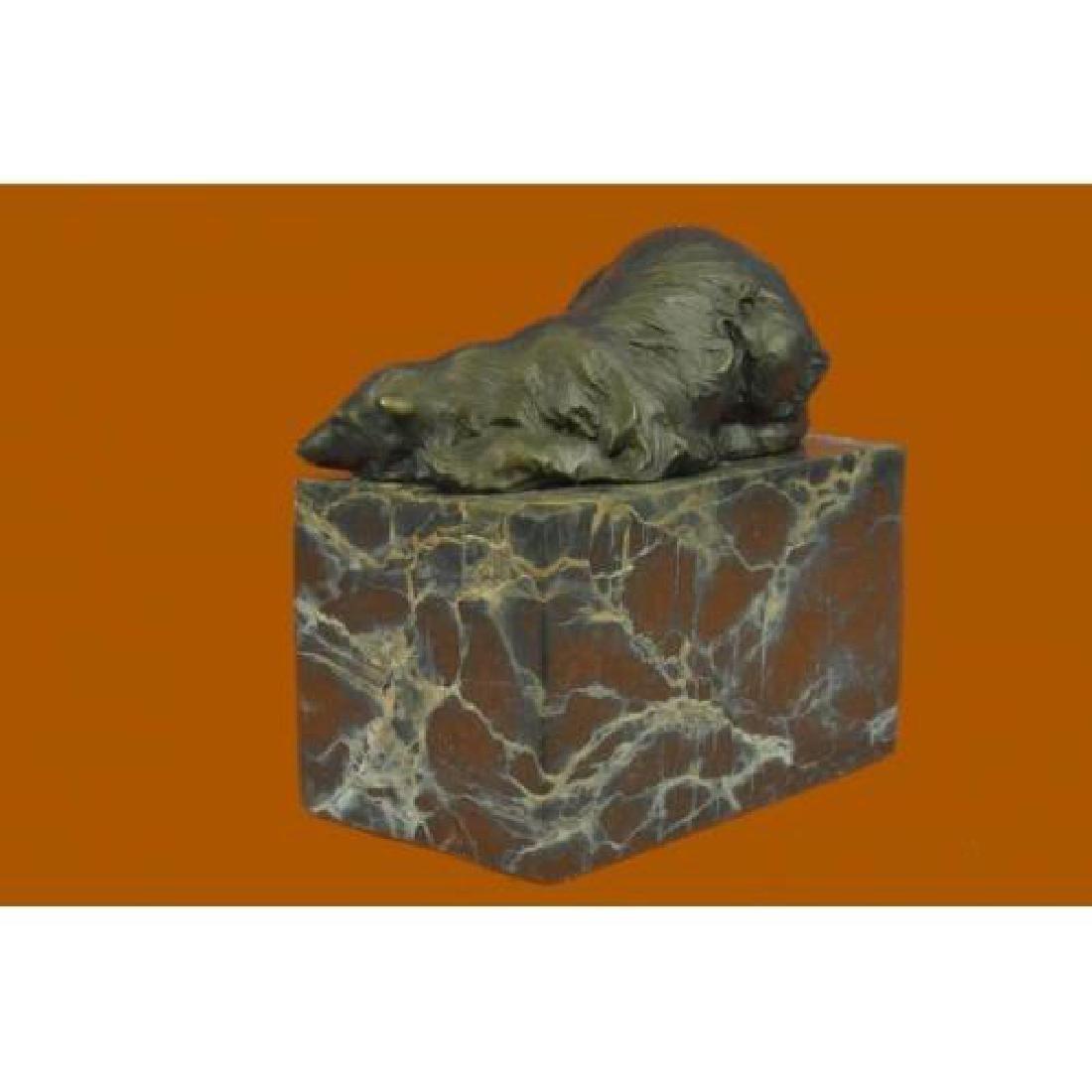 Polar Bear Bronze Sculpture on Marble Base Sculpture - 3