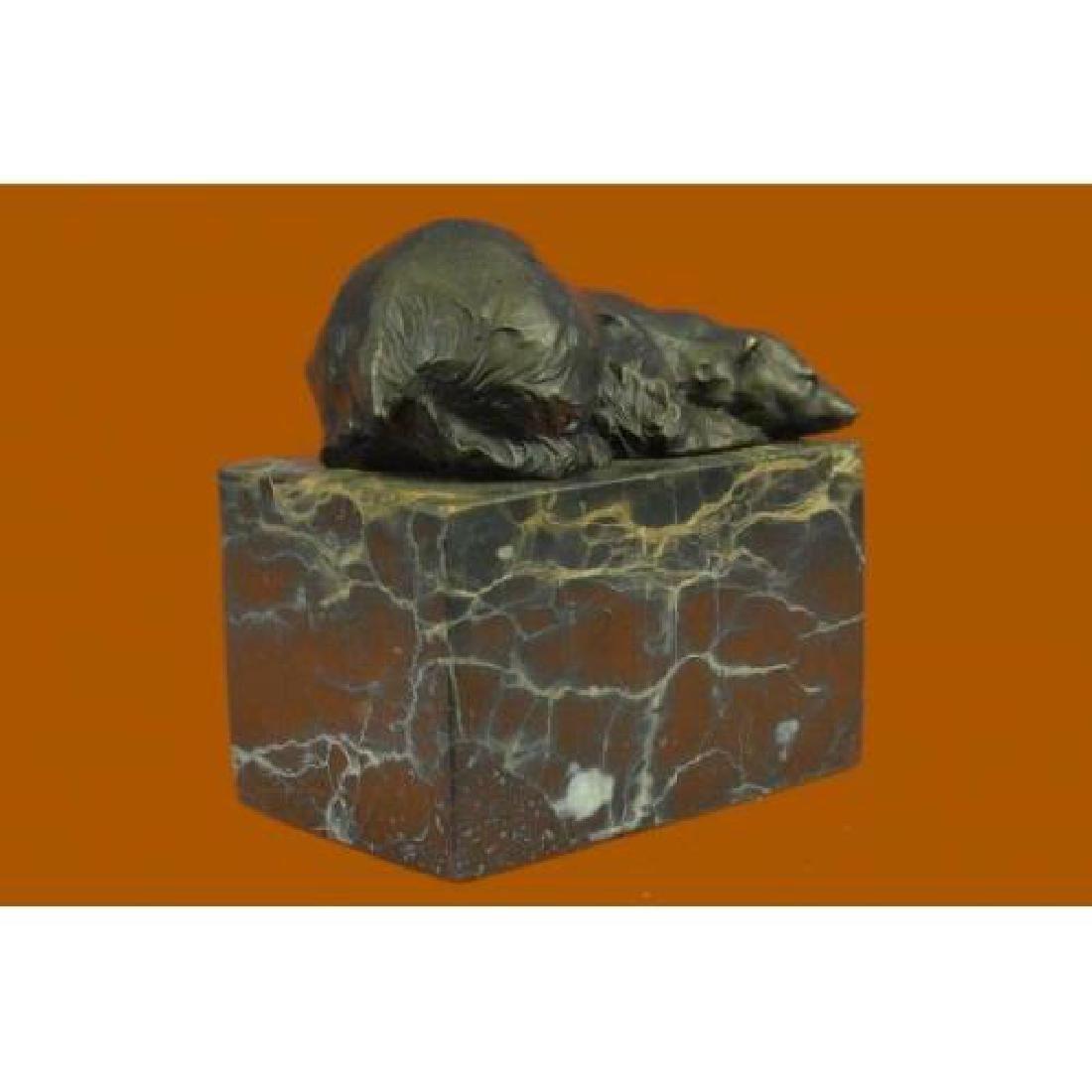 Polar Bear Bronze Sculpture on Marble Base Sculpture - 4