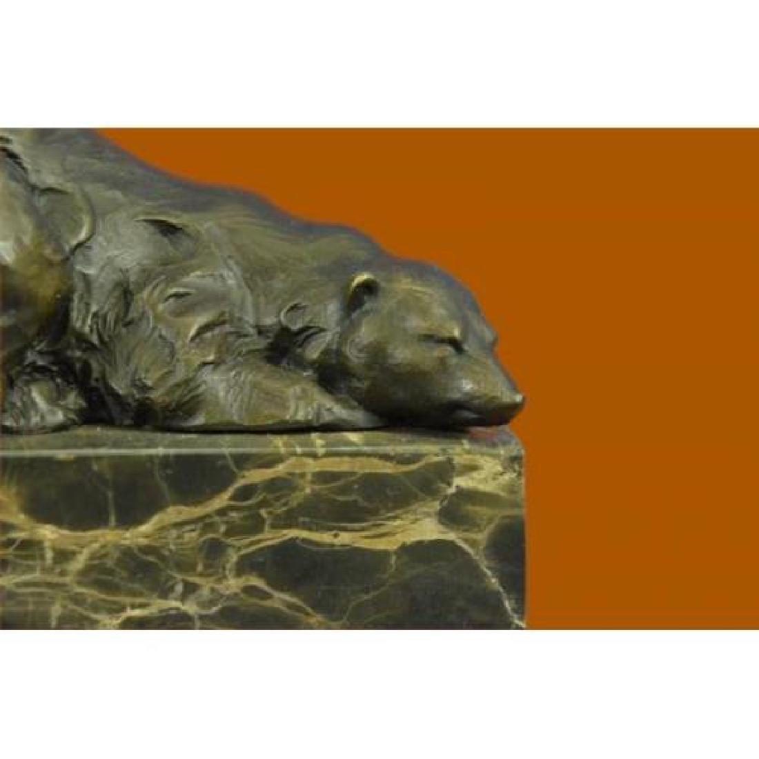 Polar Bear Bronze Sculpture on Marble Base Sculpture - 5