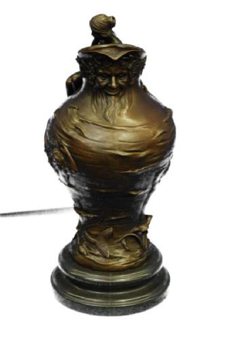 Royal Lion Griffin King Statue Fantasy Bronze Vase - 5