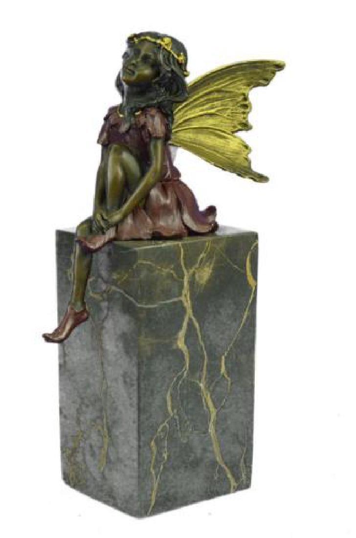 Butterfly Girl Angel Bronze Sculpture - 5