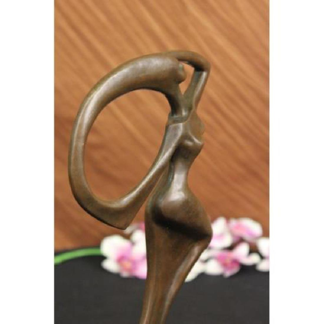 Abstract Dancer Bronze Sculpture on Marble Base Statue - 5