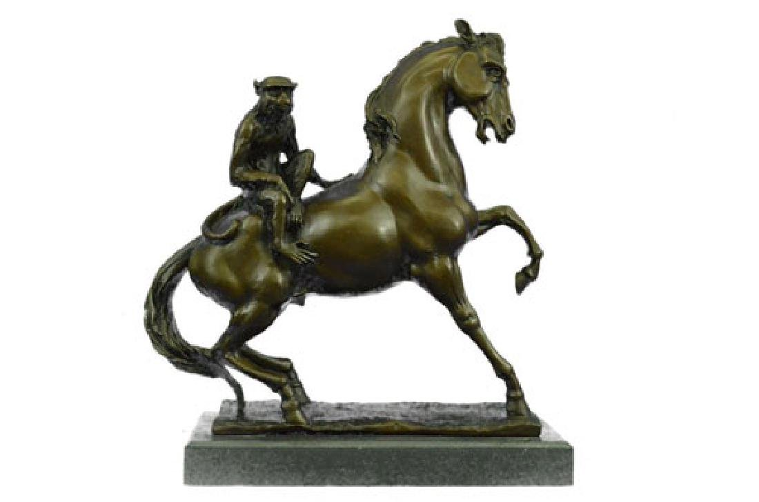 Monkey Sit on Horse Bronze Statue