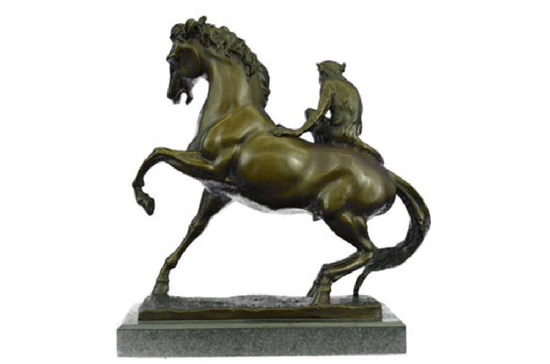 Monkey Sit on Horse Bronze Statue - 7