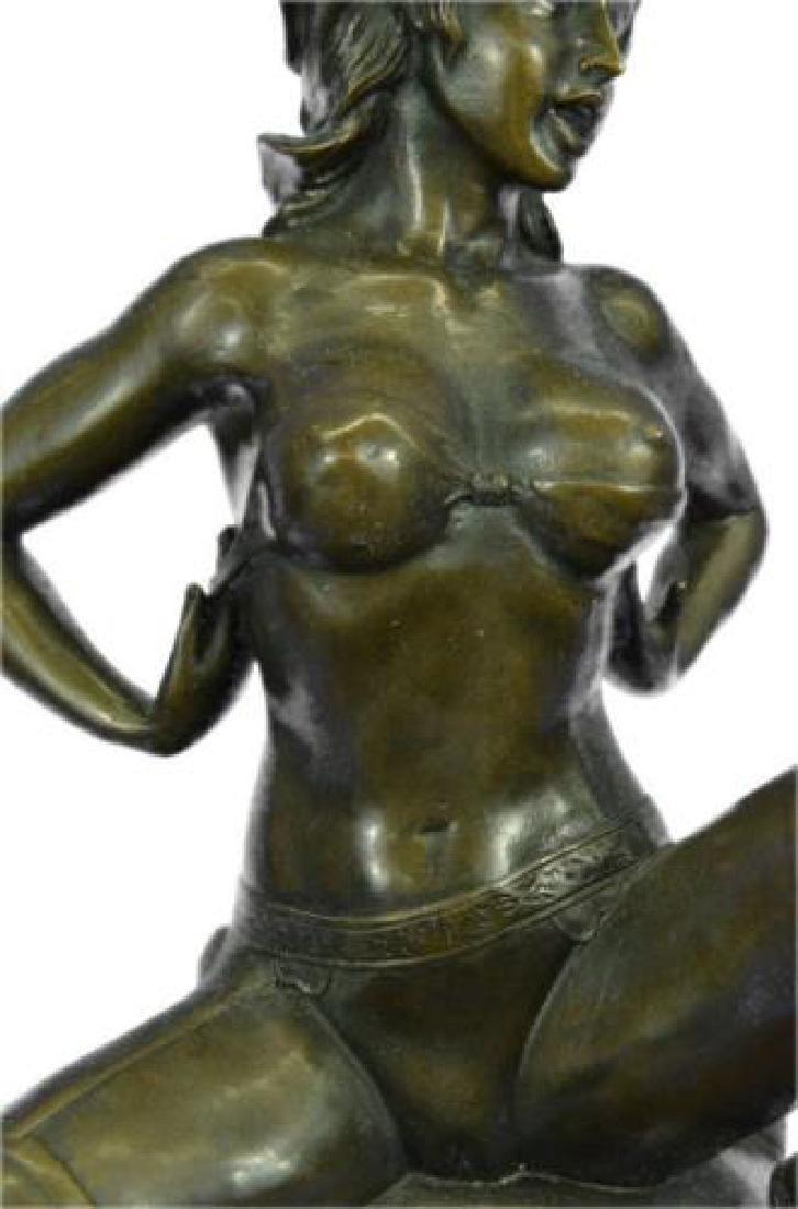 Erotic Nude Woman Bronze Statue - 4