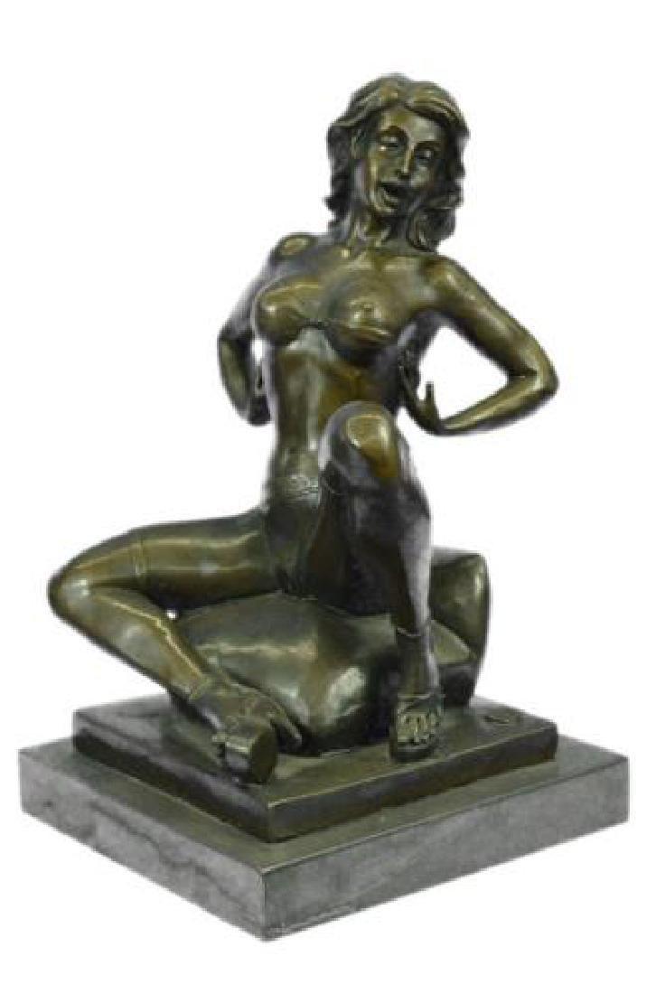 Erotic Nude Woman Bronze Statue - 5