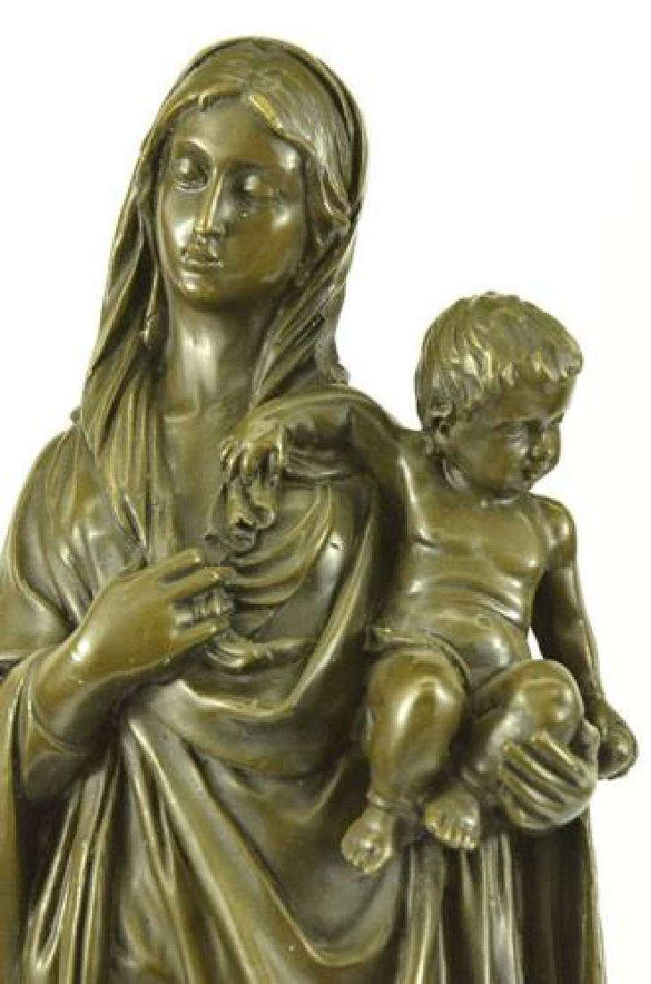 Mother Virgin Mary Bronze Sculpture on Marble Base - 2