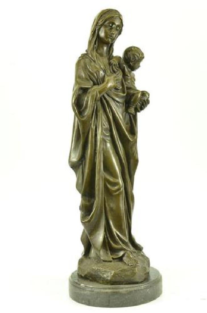 Mother Virgin Mary Bronze Sculpture on Marble Base - 3
