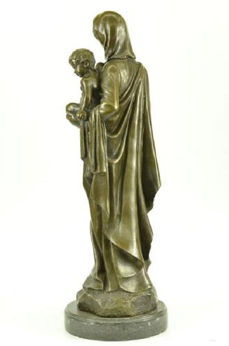 Mother Virgin Mary Bronze Sculpture on Marble Base - 5