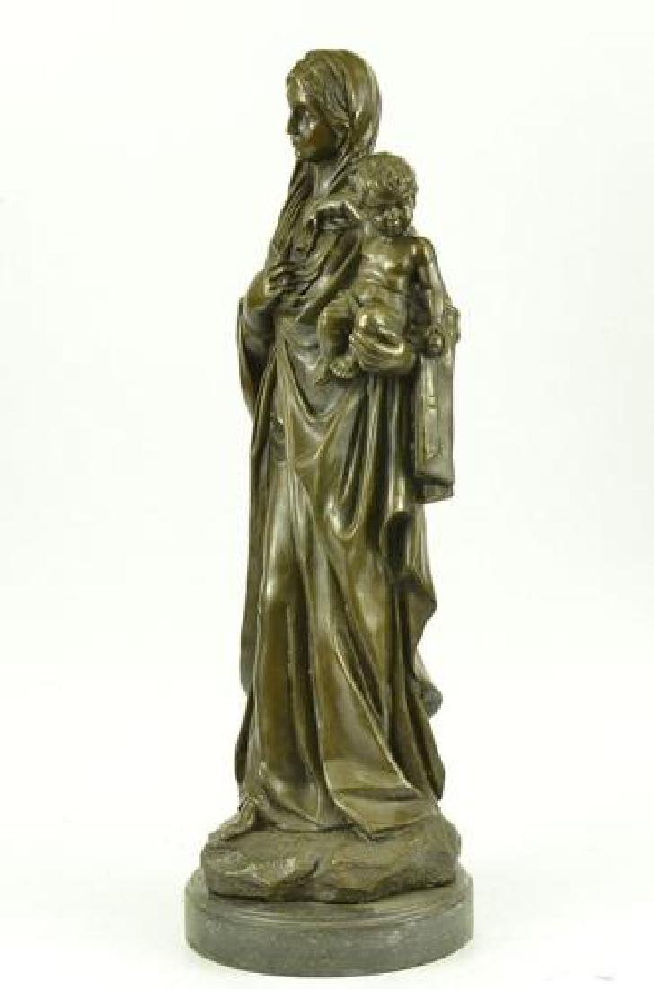 Mother Virgin Mary Bronze Sculpture on Marble Base - 6
