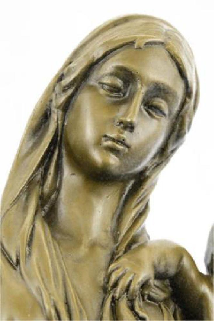 Mother Virgin Mary Bronze Sculpture on Marble Base - 8