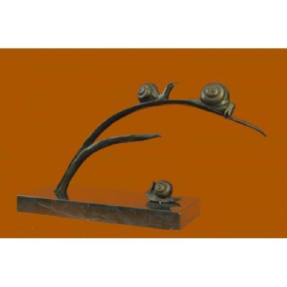 Snails on Branch Bronze Sculpture on Marble Base Statue - 2