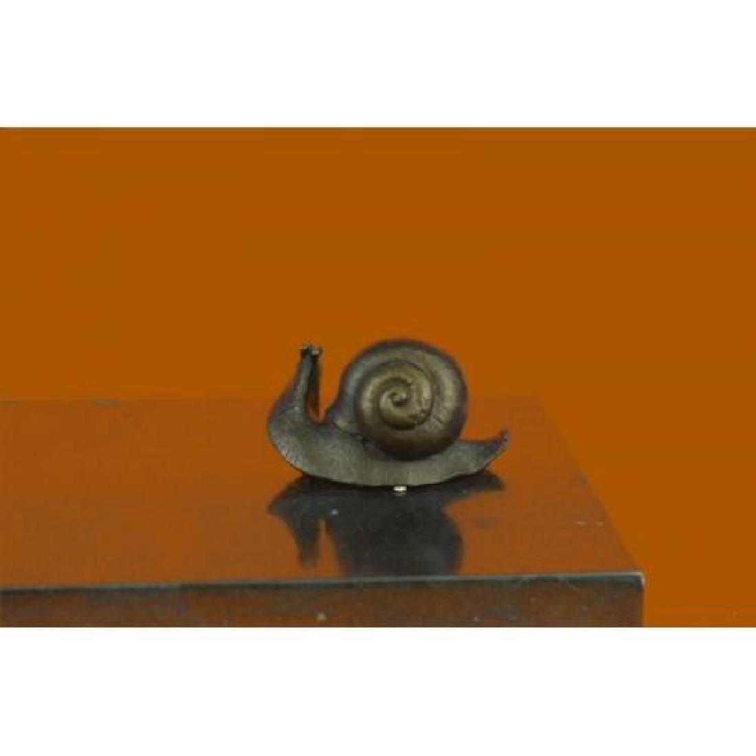 Snails on Branch Bronze Sculpture on Marble Base Statue - 5