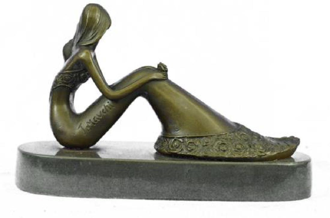 Nude Sexy Mermaid Bronze Sculpture on Marble Base - 7