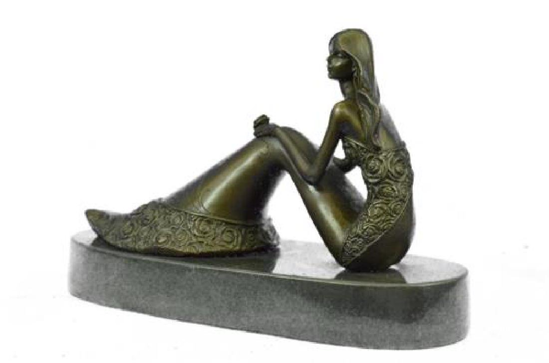 Nude Sexy Mermaid Bronze Sculpture on Marble Base - 8