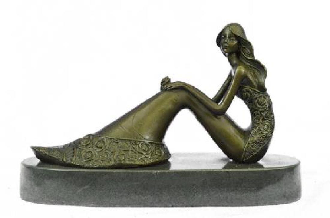 Nude Sexy Mermaid Bronze Sculpture on Marble Base - 9