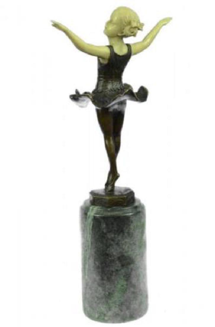 Young Girl Ballerina Bronze Sculpture on Marble Base - 2