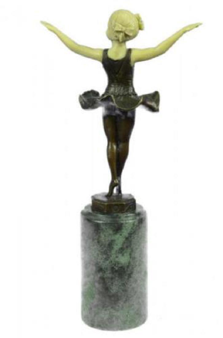 Young Girl Ballerina Bronze Sculpture on Marble Base - 3