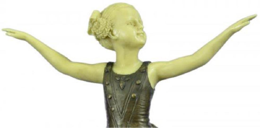 Young Girl Ballerina Bronze Sculpture on Marble Base - 6