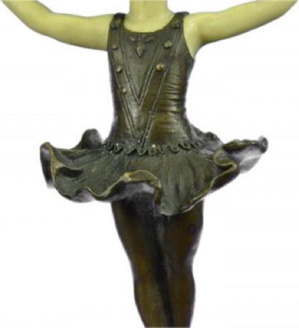 Young Girl Ballerina Bronze Sculpture on Marble Base - 7