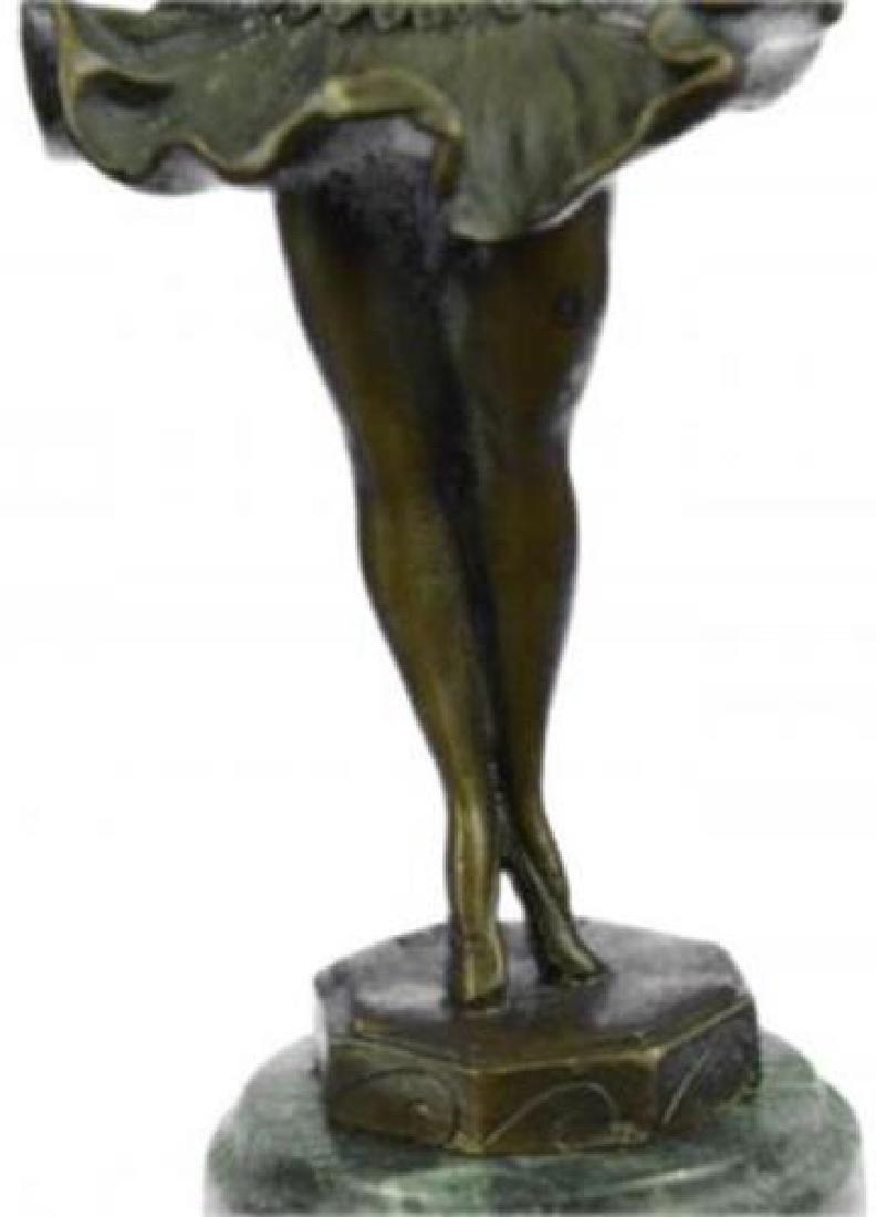 Young Girl Ballerina Bronze Sculpture on Marble Base - 8