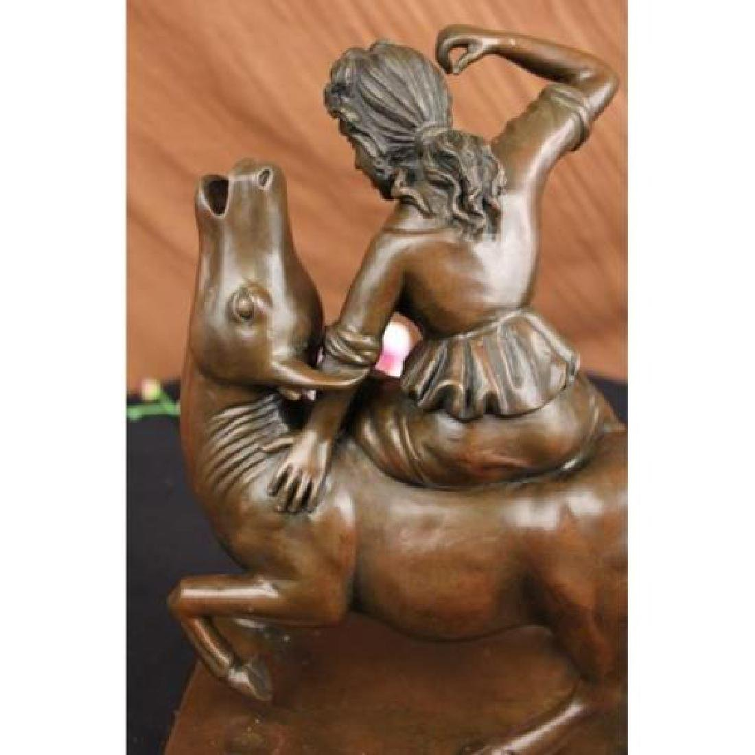 Nude Woman Bronze on Marble Base Statue - 5