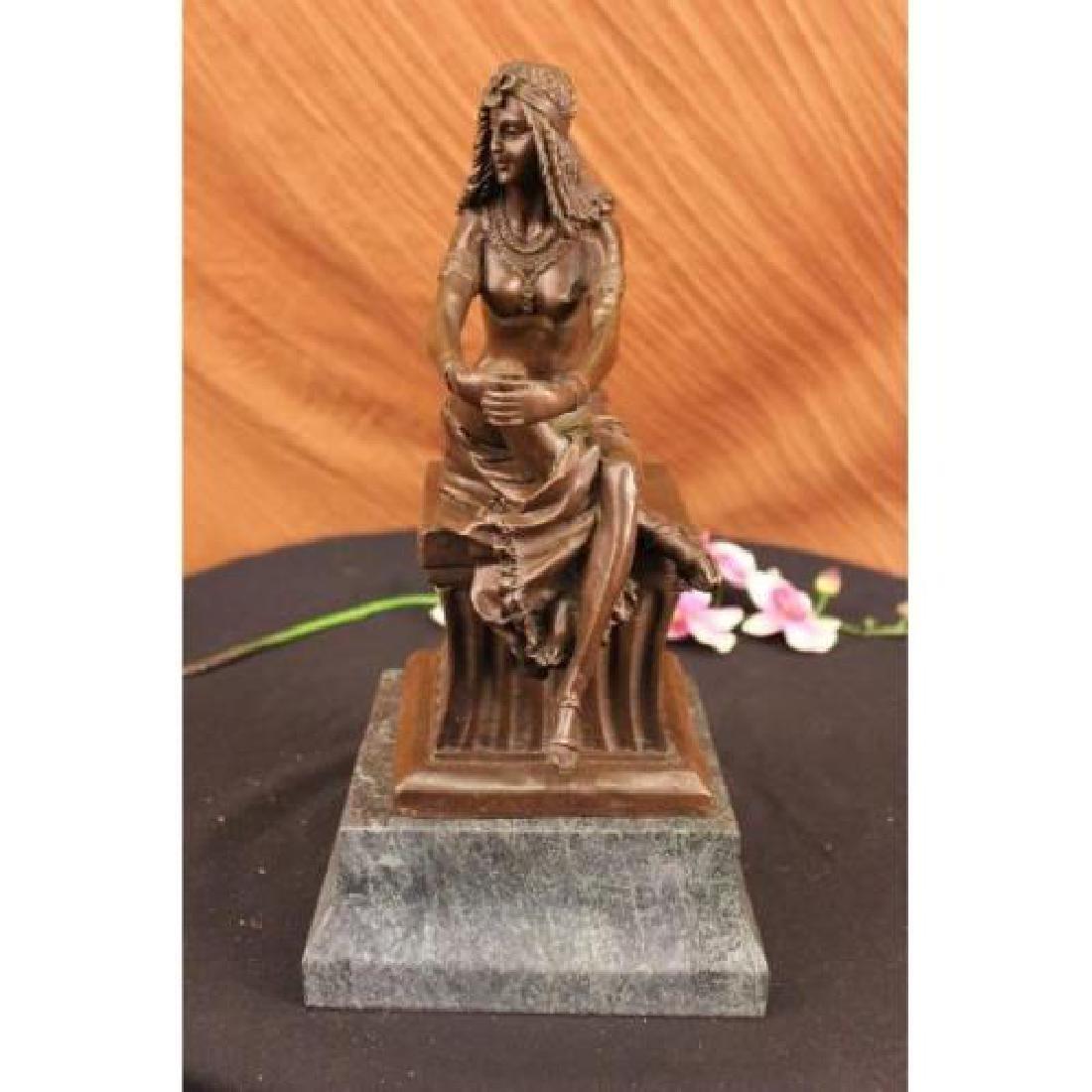 Sitting Egyptian Nude Princess Bronze Sculpture