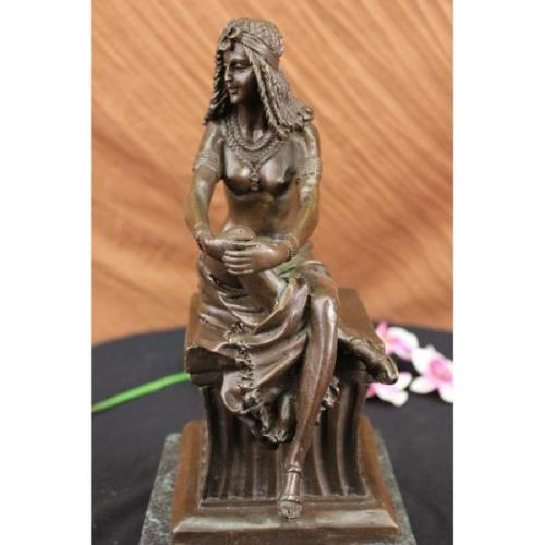 Sitting Egyptian Nude Princess Bronze Sculpture - 2